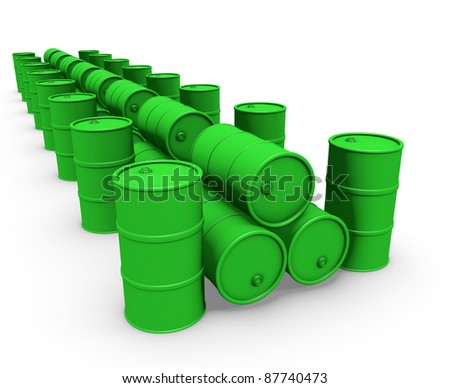 Abstract 3d-illustration: Green barrels group