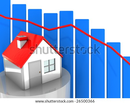 abstract 3d illustration, house prices concept, diagram - stock photo