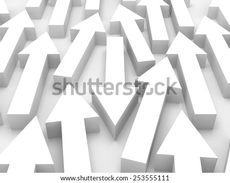 Abstract 3d illustration, large group of white arrows go forward and one is opposite - stock photo