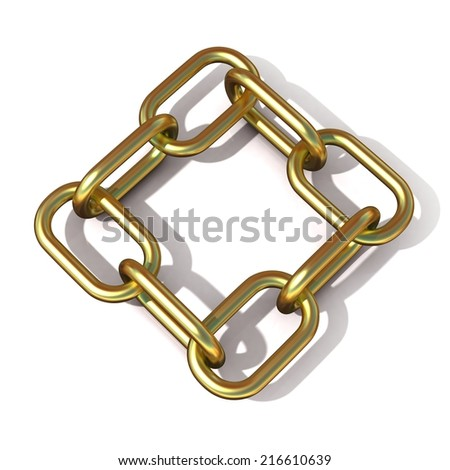 Abstract 3D illustration of a brass chain link isolated on white background. Top view - stock photo
