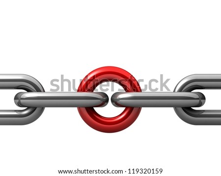 Abstract 3D illustration of a single chain link isolated on white background. Business and Sports concept - stock photo