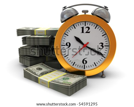 abstract 3d illustration of alarm clock and money stacks, over white background - stock photo
