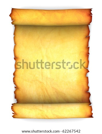 abstract 3d illustration of ancient paper scroll over white background - stock photo