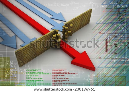 abstract 3d illustration of arrow breaking break wall, power solution concept  - stock photo