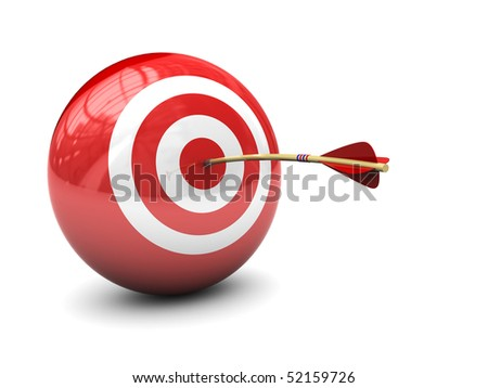 abstract 3d illustration of arrow in target