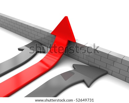abstract 3d illustration of arrows and brick wall, right solution concept - stock photo