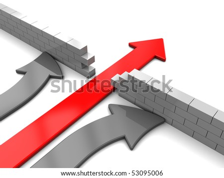 abstract 3d illustration of arrows competition with red leader - stock photo