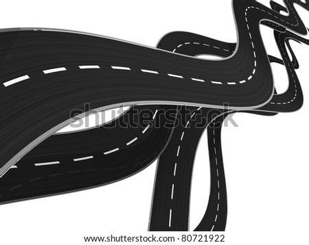 abstract 3d illustration of asphalt roads background - stock photo