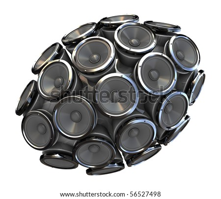 abstract 3d illustration of audio speakers sphere isolated over white background - stock photo