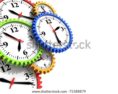 abstract 3d illustration of background with clock gear wheels and copy space