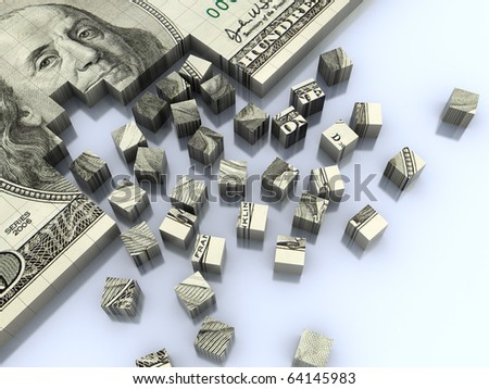 abstract 3d illustration of background with dollar banknote assembling - stock photo