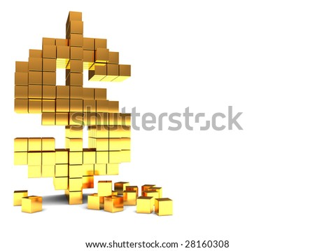 abstract 3d illustration of background with dollar sign construction on left side - stock photo