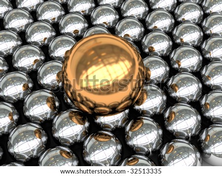 abstract 3d illustration of background with steel and gold spheres