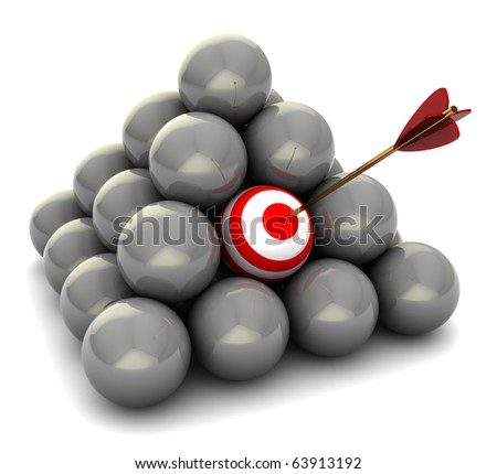 abstract 3d illustration of balls pyramid, right target concept - stock photo
