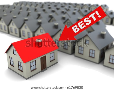 abstract 3d illustration of best house choice concept - stock photo