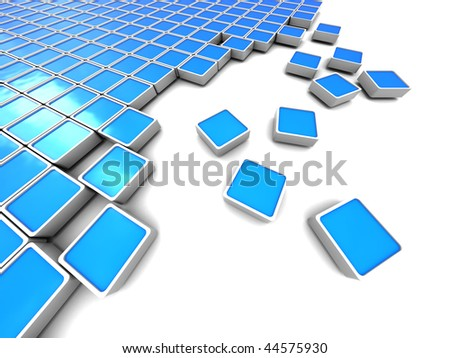 abstract 3d illustration of blue blocks background