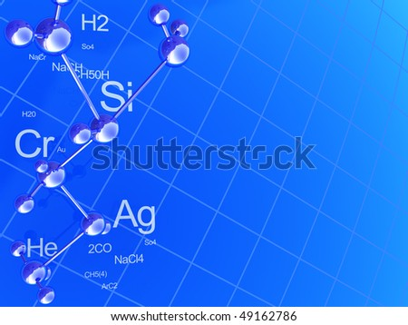 abstract 3d illustration of blue chemistry background - stock photo