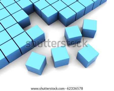abstract 3d illustration of blue cubes assembling over white background