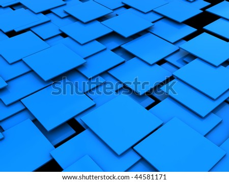 abstract 3d illustration of blue tiles background