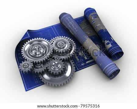 abstract 3d illustration of blueprints and gear wheels, engineering concept - stock photo
