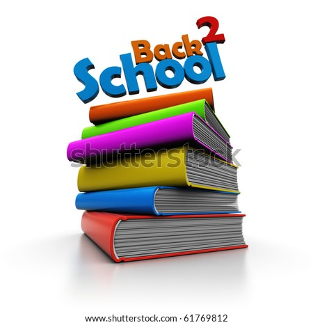 abstract 3d illustration of books stack and 'back to school' sign
