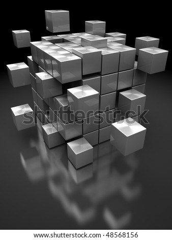 abstract 3d illustration of box building from steel blocks - stock photo