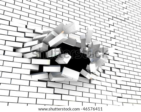 abstract 3d illustration of brick wall breaking
