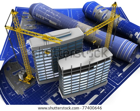abstract 3d illustration of building construction on blueprint - stock photo