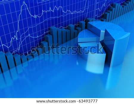 abstract 3d illustration of business diagrams blue background - stock photo