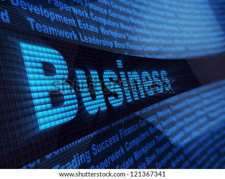 abstract 3d illustration of business sign over digital blue background