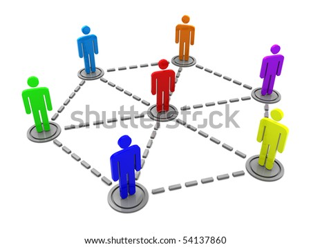abstract 3d illustration of business team organization concept