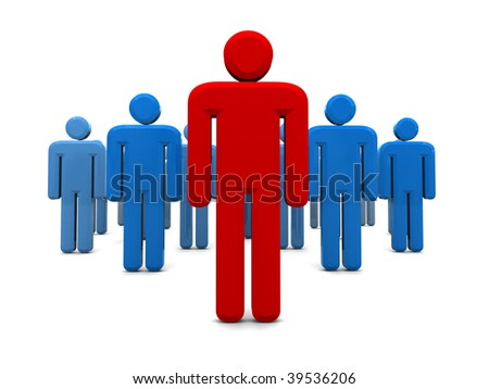 abstract 3d illustration of business team with leader