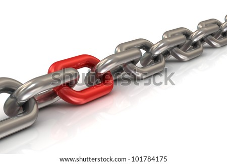 abstract 3d illustration of chain with one red link over white background