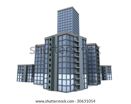 abstract 3d illustration of city buildings over white background