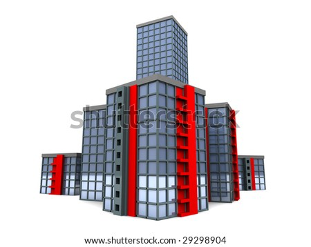 abstract 3d illustration of city isolated over white background