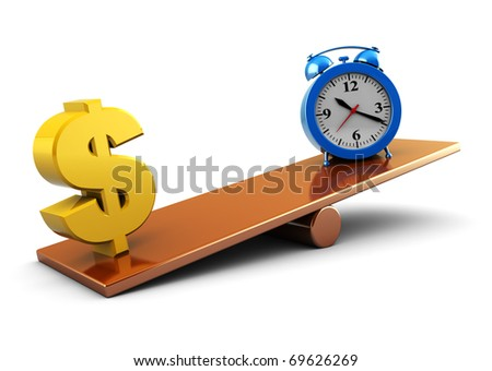 abstract 3d illustration of clock and dollar sign on scale board - stock photo