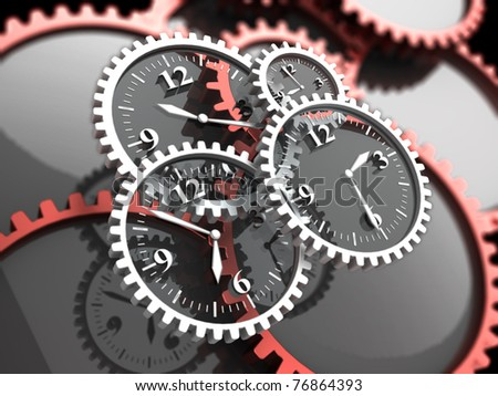 abstract 3d illustration of clock gears, time concept - stock photo