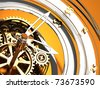 abstract 3d illustration of clock mechanism background, golden colors - stock photo