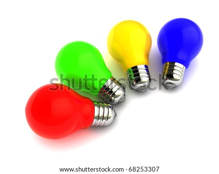 abstract 3d illustration of colorful light bulbs over white background