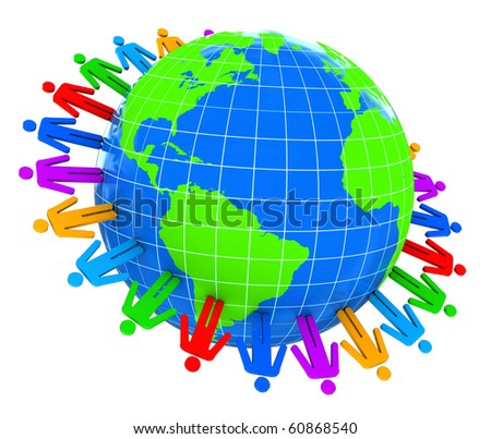 abstract 3d illustration of colorful people around earth - stock photo