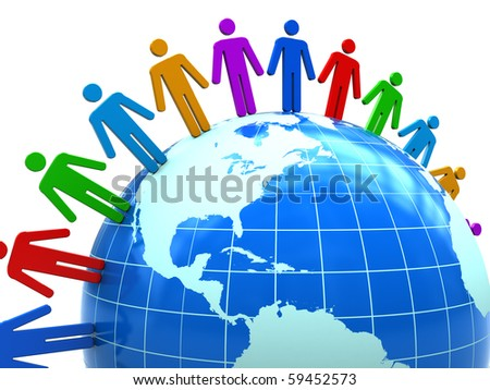 abstract 3d illustration of colorful people around earth globe - stock photo