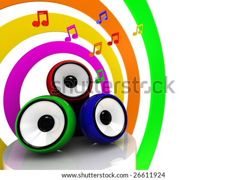 abstract 3d illustration of colorful sound system