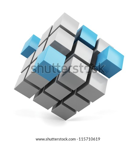 abstract 3d illustration of cube assembling from blocks - stock photo