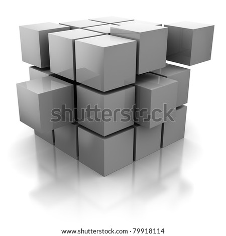 abstract 3d illustration of cube construction with blocks - stock photo