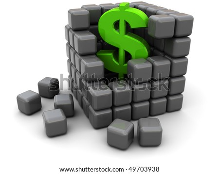 abstract 3d illustration of cube structure with dollar sign inside - stock photo