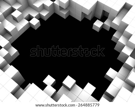 abstract 3d illustration of cubes background or frame - stock photo