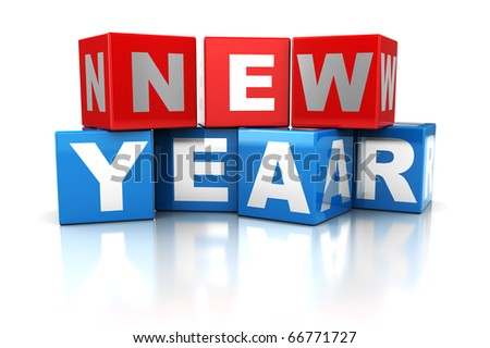 abstract 3d illustration of cubes with 'new year' sign, over white background - stock photo