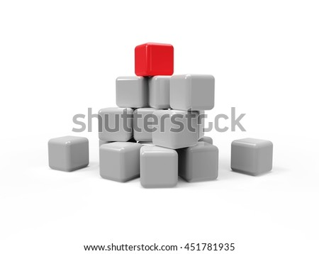 Abstract 3d illustration of cubes with red leader