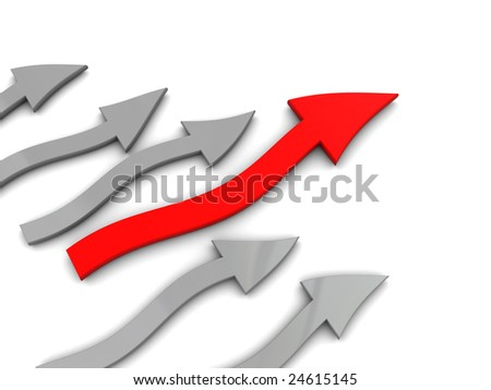abstract 3d illustration of curved arrows over white