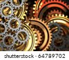 abstract 3d illustration of dark gear wheels background - stock photo